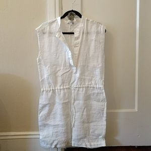 NWOT James Perse white linen drawstring dress